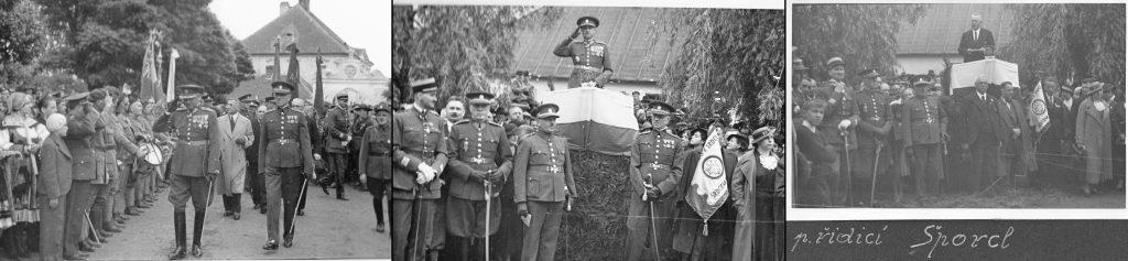Slavnostní průvod putoval zKutné Hory do Hlízova trasu 7 km pěšky, slavnost vHlízově zr. 1936, vpředu generál Kutlvašr, u řečnického pultu řídící učitel a kronikář obce Šporcl