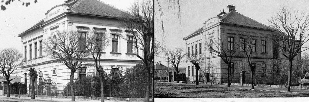 Budova školy vHlízově spamětní deskou zr. 1936, škola bez desky, foto z doby okupace